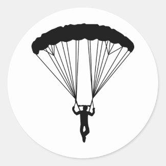 skydiver silhouette round sticker