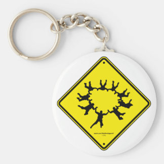 Skydivers Caution Sign Basic Round Button Key Ring
