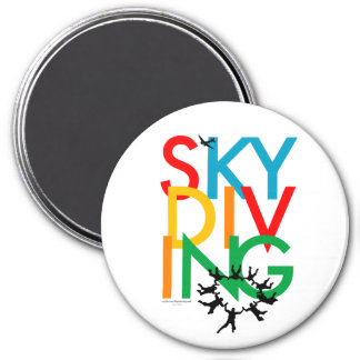 Skydiving 7.5 Cm Round Magnet