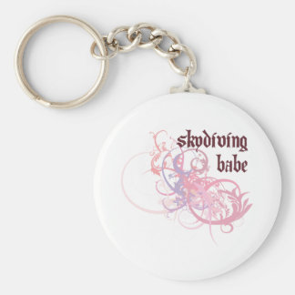 Skydiving Babe Basic Round Button Key Ring