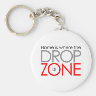Skydiving Drop Zone Basic Round Button Key Ring