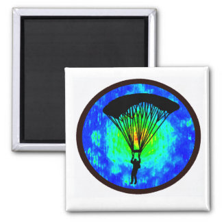 SKYDIVING EARTH VIEW SQUARE MAGNET