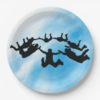 Skydiving Freefall Design Paper Party Plate 9 Inch Paper Plate