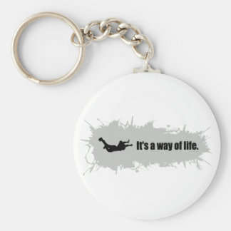 Skydiving is a Way of Life Basic Round Button Key Ring
