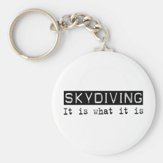 Skydiving It Is Basic Round Button Key Ring