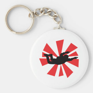 skydiving skydiver icon basic round button key ring