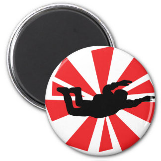skydiving skydiver icon 6 cm round magnet