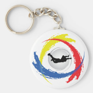 Skydiving Tricolor Emblem Basic Round Button Key Ring
