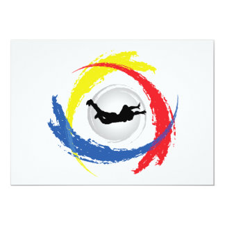 Skydiving Tricolor Emblem Card
