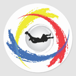 Skydiving Tricolor Emblem Classic Round Sticker
