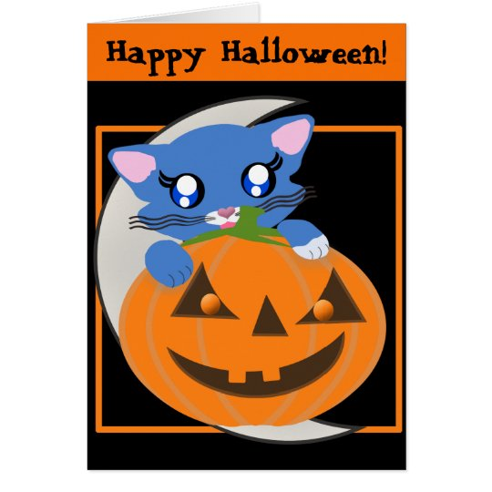 Skye Pumpkin Moon Toon Kitty Card