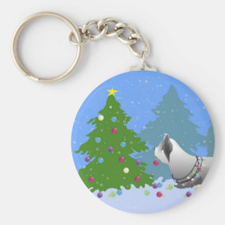 Skye Terrier Decorating Christmas Tree - Forest Basic Round Button Key Ring