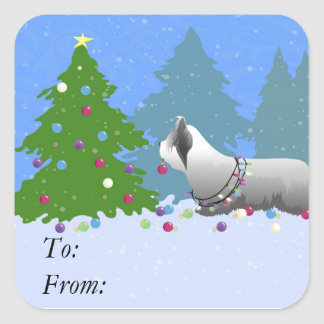 Skye Terrier Decorating Christmas Tree - Forest Square Sticker