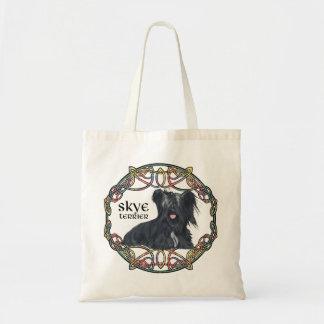 Skye Terrier in Celtic Knotwork - Buchanan Tartan Budget Tote Bag