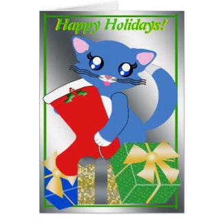 Skye Toon Kitten Holiday Stocking Card