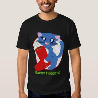 Skye Toon Kitten Holiday Stocking Dark Shirt