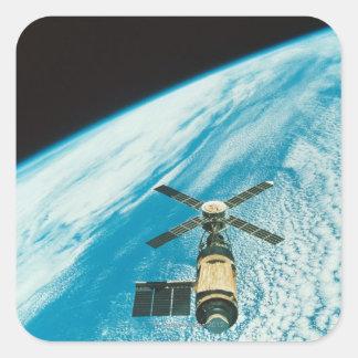 Skylab over Earth Square Sticker