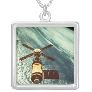 Skylab Space Station in Space Silver Plated Necklace