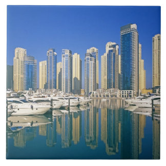Skyline and boats on Dubai Marina Large Square Tile