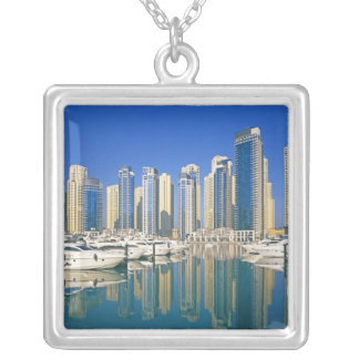 Skyline and boats on Dubai Marina Silver Plated Necklace