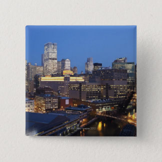 Skyline and River 15 Cm Square Badge