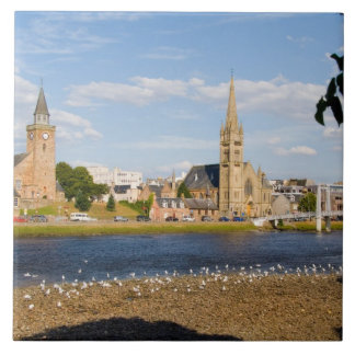 Skyline and river of quaint town of Inverness Tile