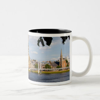 Skyline and river of quaint town of Inverness Two-Tone Coffee Mug