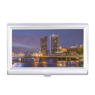 Skyline At Dusk, On The Grand River Business Card Holder