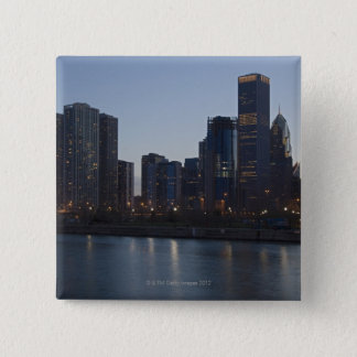 Skyline at night with Lake Michigan Chicago 15 Cm Square Badge