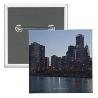 Skyline at night with Lake Michigan Chicago 15 Cm Square Badge