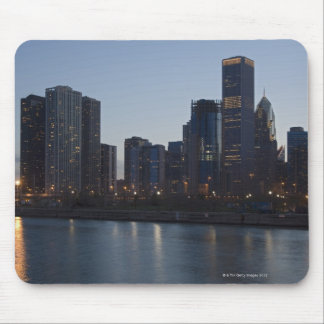 Skyline at night with Lake Michigan Chicago Mouse Pad