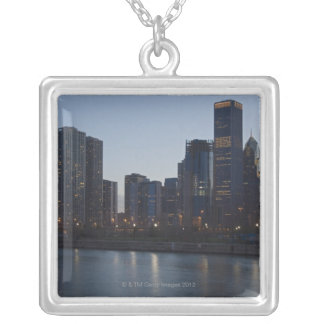 Skyline at night with Lake Michigan Chicago Silver Plated Necklace