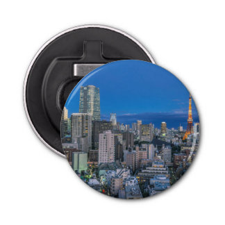Skyline at twilight bottle opener