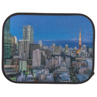 Skyline at twilight car mat