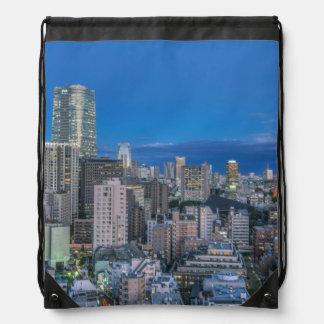Skyline at twilight drawstring bag