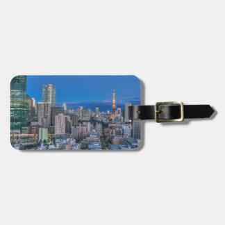 Skyline at twilight luggage tag