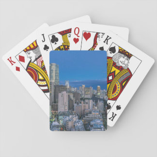 Skyline at twilight playing cards