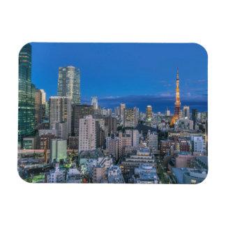 Skyline at twilight rectangular photo magnet