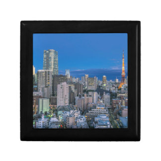 Skyline at twilight small square gift box