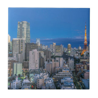 Skyline at twilight small square tile