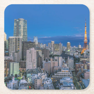 Skyline at twilight square paper coaster