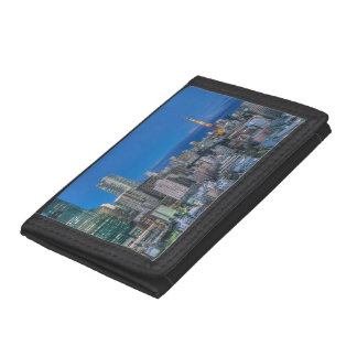 Skyline at twilight trifold wallets