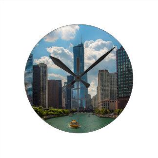 Skyline Chicago Round Clock