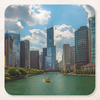 Skyline Chicago Square Paper Coaster