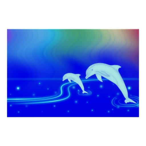 Skyline Dolphin Posters