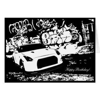 Skyline GTR with Graffiti CarTheme Birthday Card