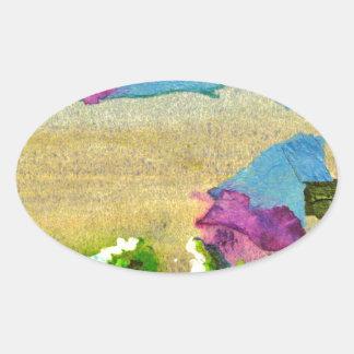 skyline in brighton oval sticker