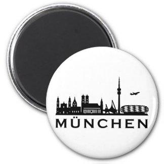 Skyline Munich 6 Cm Round Magnet
