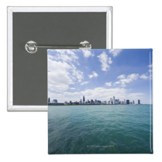 Skyline of Chicago from Lake Michigan, Illinois, 15 Cm Square Badge