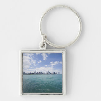 Skyline of Chicago from Lake Michigan, Illinois, Silver-Colored Square Key Ring